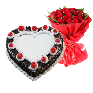 Black Forest Heart Shape Cake with Roses