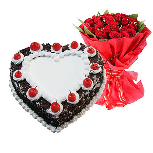 Black Forest Heart Shape Cake With Roses 1050 Free Shipping