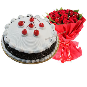 Black Forest Cake with Bouquet