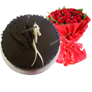 Chocolate-cake-with-bouquet