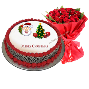 Christmas Cake with 10 Roses Bouquet