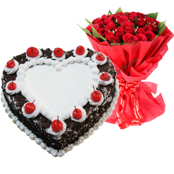 Blackforest Heart Shape Cake with roses