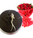 Chocolate Cake with Bouquet
